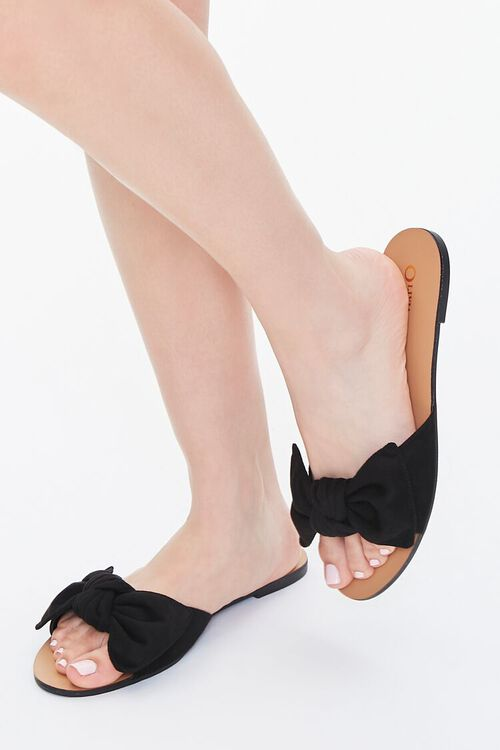BLACK Faux Suede Bow Sandals (Wide), image 1