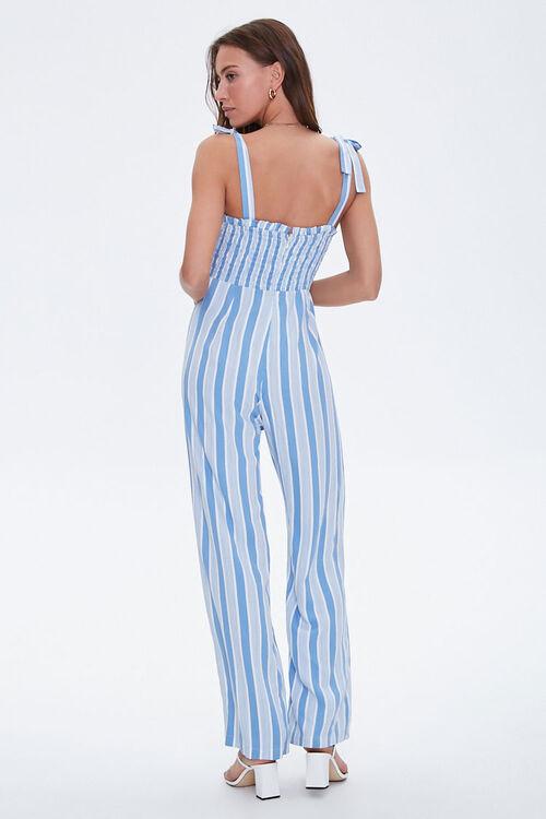Striped Wide-Leg Smocked Jumpsuit, image 3