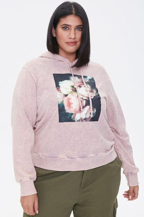 LAVENDER/MULTI Plus Size Floral Graphic Hoodie, image 1
