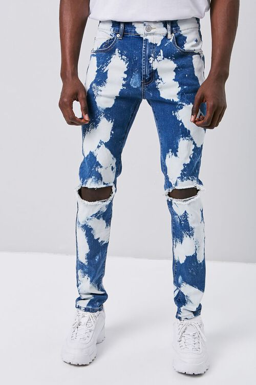 BLUE/MULTI Bleached Wash Skinny Jeans, image 2