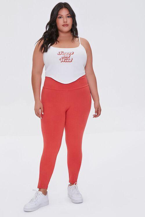 RED Plus Size Basic Organically Grown Cotton Leggings, image 1