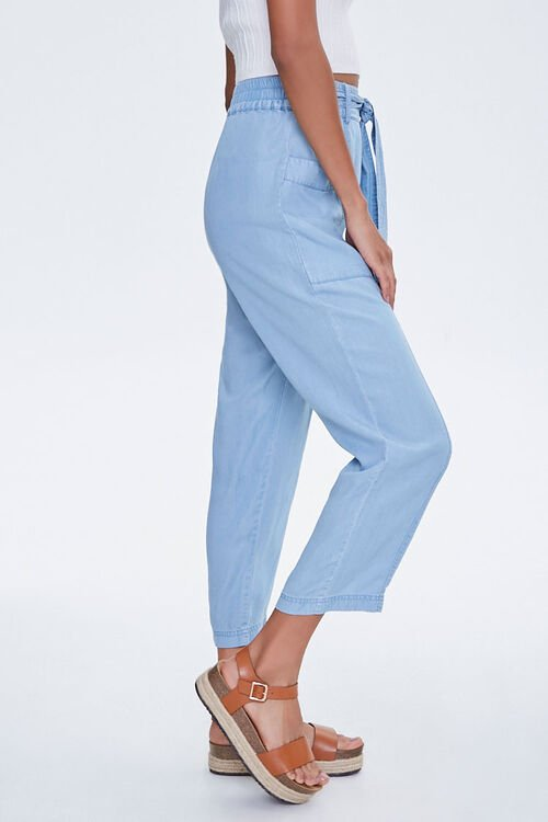 Chambray Tie-Waist Ankle Pants, image 3
