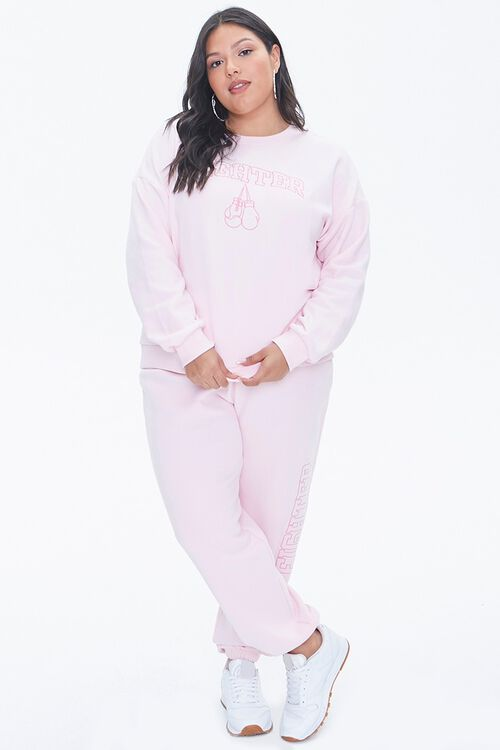LIGHT PINK/PINK Plus Size Stand Up To Cancer Fighter Pullover, image 4