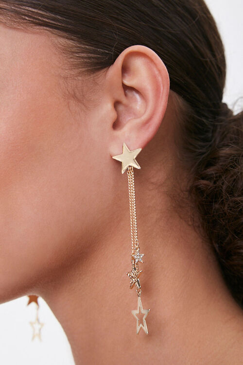 Rhinestone Star Drop Earrings, image 1