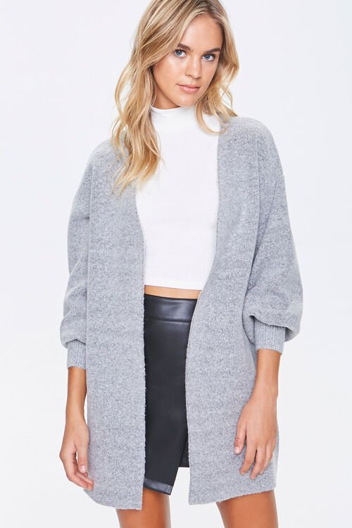 Balloon-Sleeve Cardigan Sweater, image 1