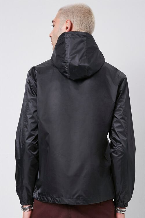 BLACK Hooded Drawstring Anorak, image 3