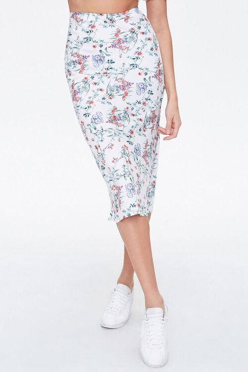 Floral Satin A-Line Skirt, image 2