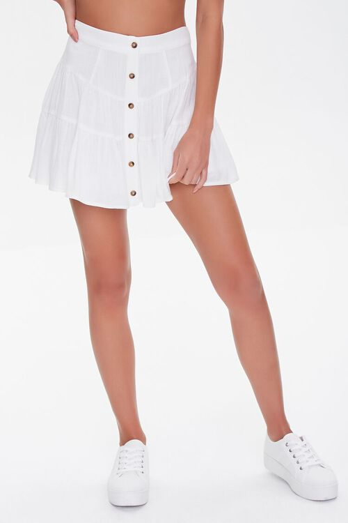 WHITE Button-Front Mini Skirt, image 2