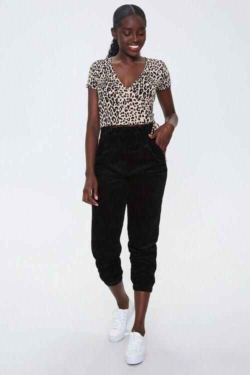 CAMEL/BLACK Leopard Print Wrap Crop Top, image 4