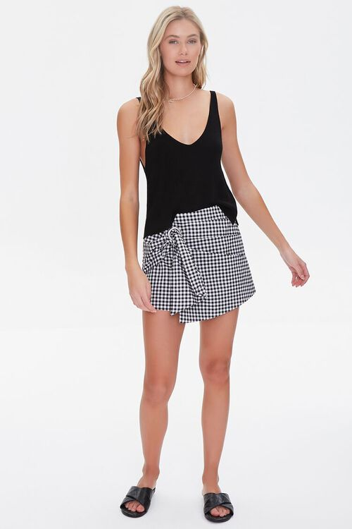 Checkered Tie-Waist Skort, image 5