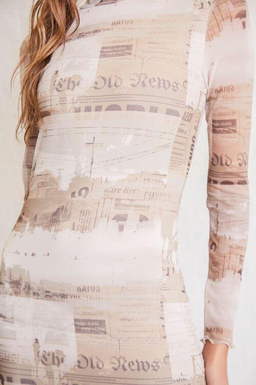 LIGHT BROWN/MULTI Newspaper Print Bodycon Dress, image 5