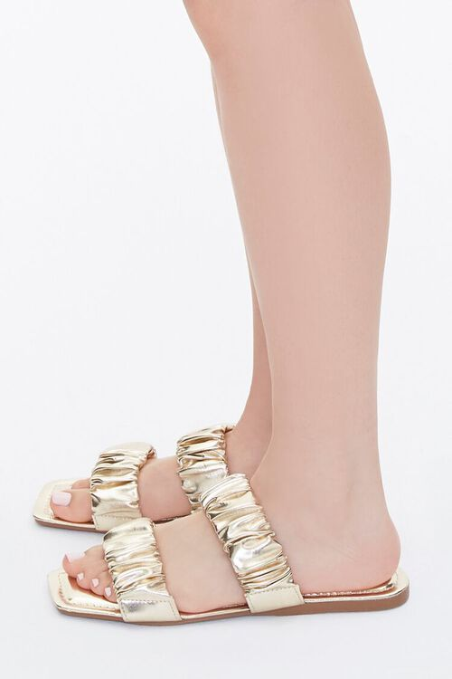Metallic Ruched Sandals, image 2