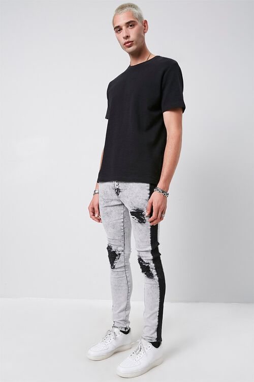 Contrast Wash Distressed Skinny Jeans, image 1