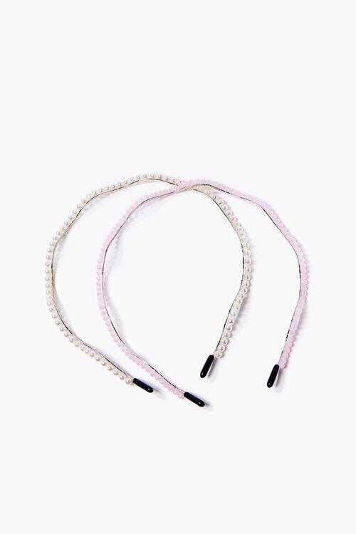 CREAM/PINK Faux Pearl Headband Set, image 1