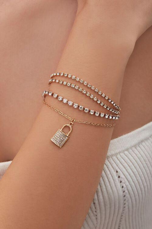 GOLD Lock Pendant Rhinestone Bracelet Set, image 1