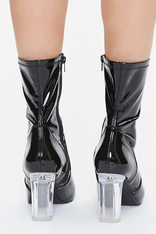 Faux Patent Leather Lucite Heel Booties, image 3