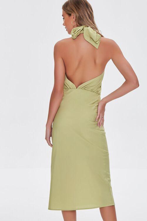 LIGHT OLIVE Crossover Halter Dress, image 4