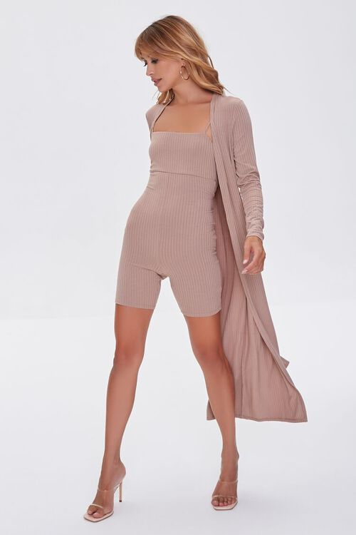 TAUPE Ribbed Knit Romper & Duster Cardigan Set, image 4