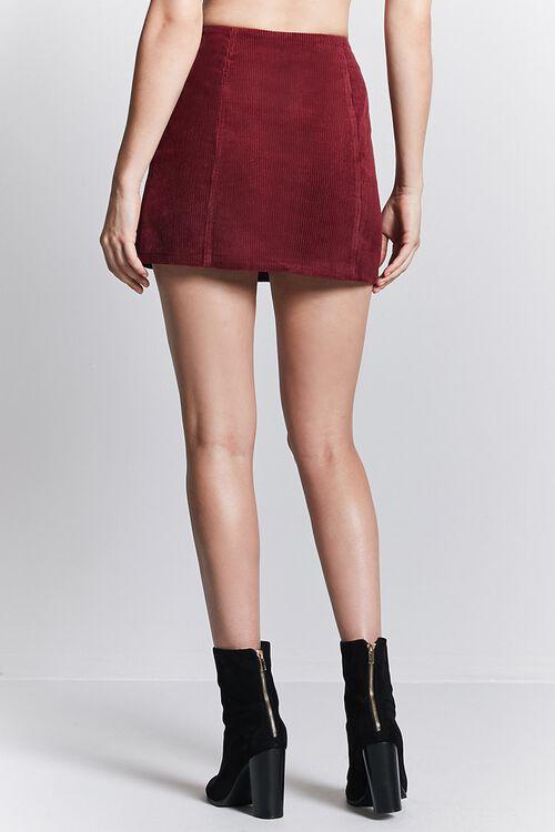 BURGUNDY Corduroy Zip-Front Mini Skirt, image 3