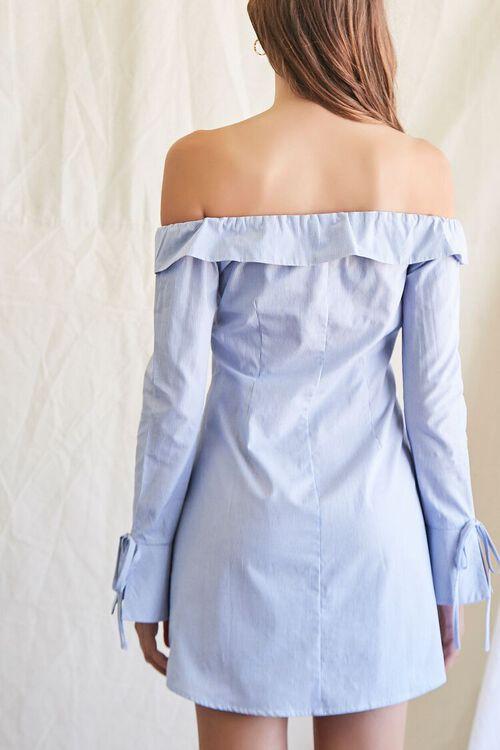 BLUE/CREAM Pinstriped Off-the-Shoulder Dress, image 3
