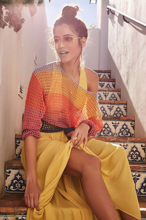 Colorblock Open-Knit Sweater, image 1