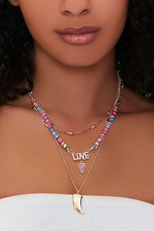 Shark Tooth Love Pendant Beaded Necklace, image 1