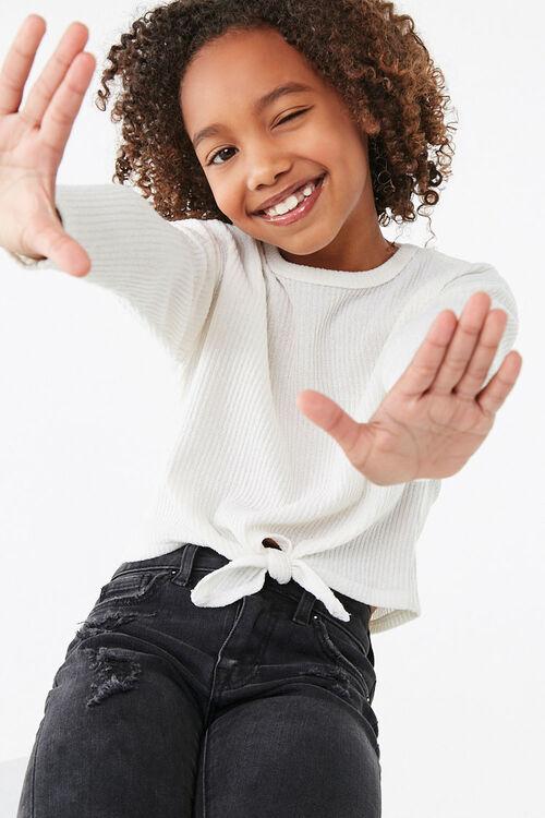 Girls Ribbed Self-Tie Top (Kids), image 1