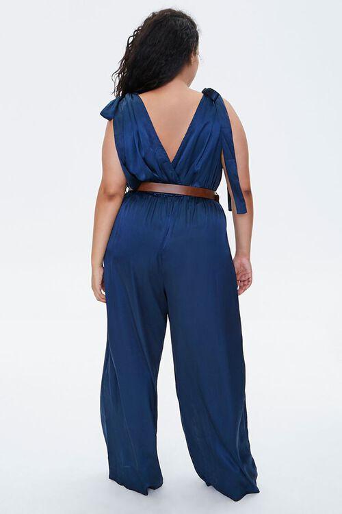 Plus Size Belted Satin Surplice Jumpsuit, image 3