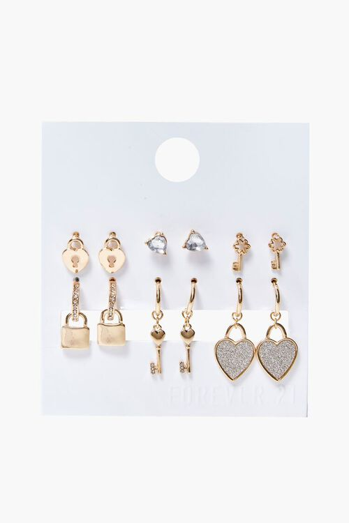 Lock & Key Charm Hoop & Stud Earring Set, image 1