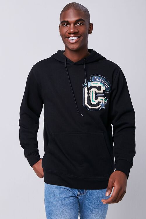 BLACK/MULTI Classic Chenille Patch Graphic Hoodie, image 1