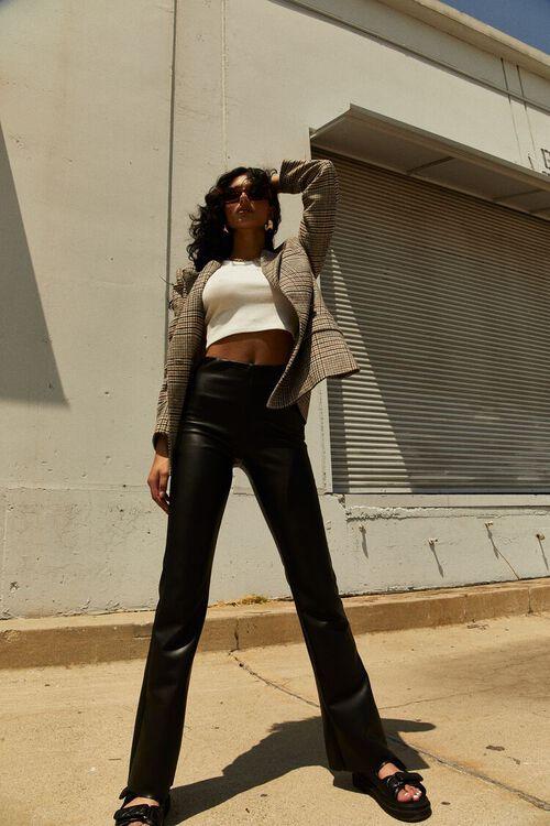 BLACK Faux Leather Flare Pants, image 1