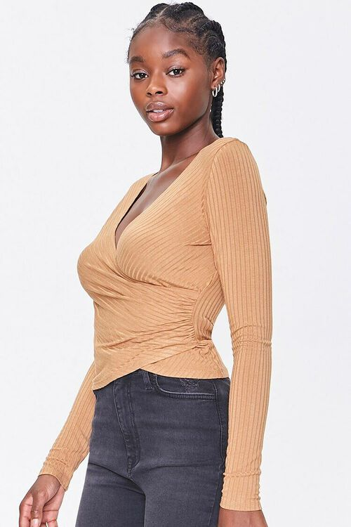 CAMEL Ribbed Surplice Long-Sleeve Top, image 2