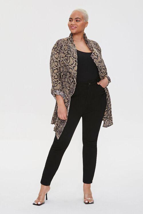 Plus Size Snakeskin Print Kimono, image 5