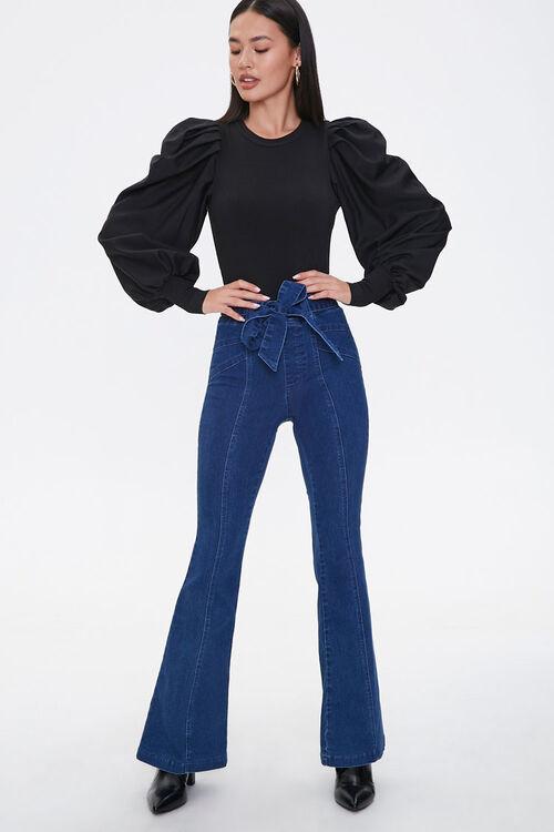 Tie-Belt Flare Jeans, image 1