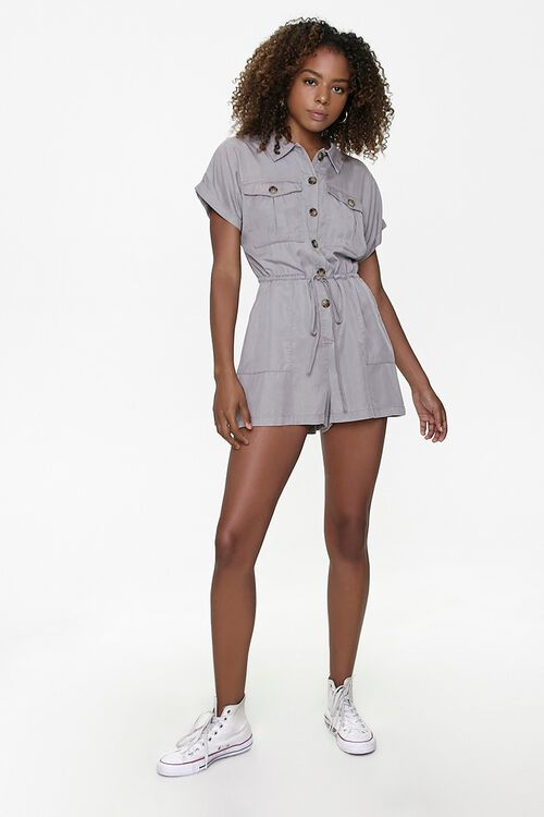 Button-Front Drawstring Romper, image 4