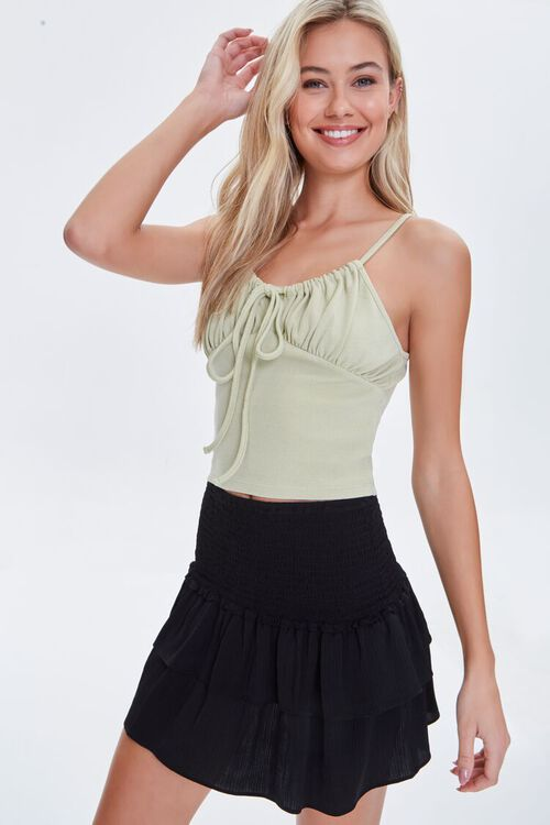 BLACK Tiered Flounce Mini Skirt, image 1