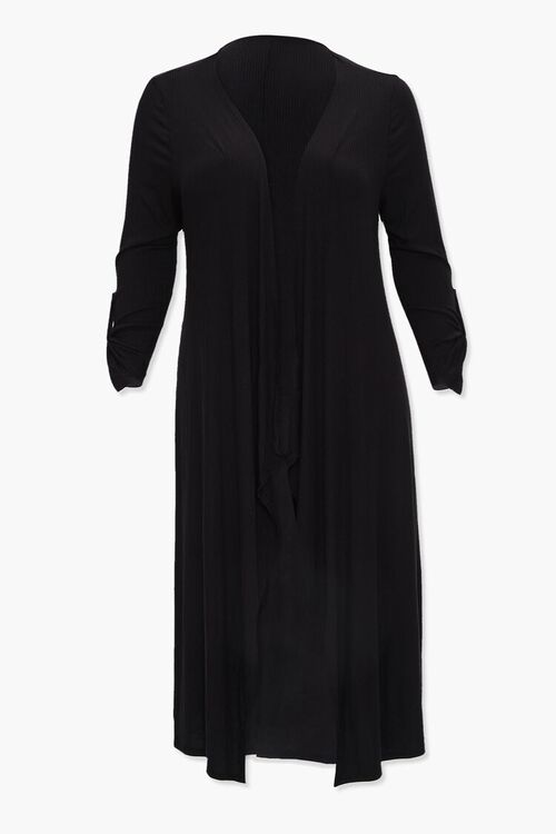 Plus Size Ribbed Duster Cardigan, image 1