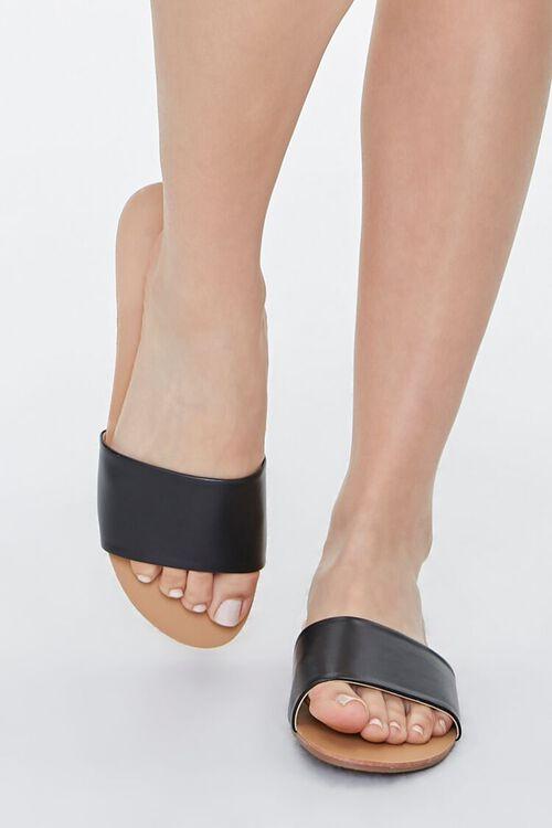 BLACK Faux Leather Flat Sandals, image 4