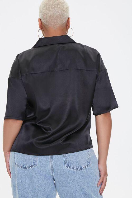 Plus Size Cropped Satin Shirt, image 3