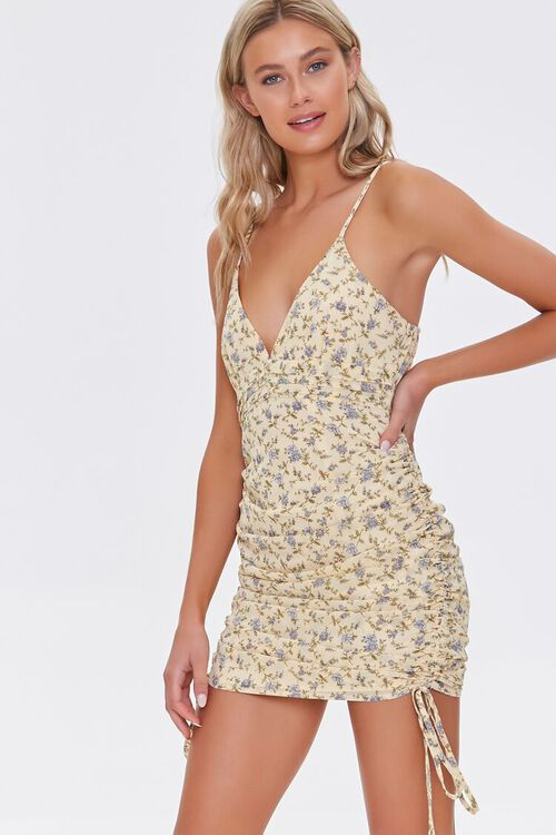 Floral Ruched Mini Dress, image 1