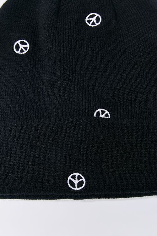 Peace Sign Embroidered Beanie Set, image 5
