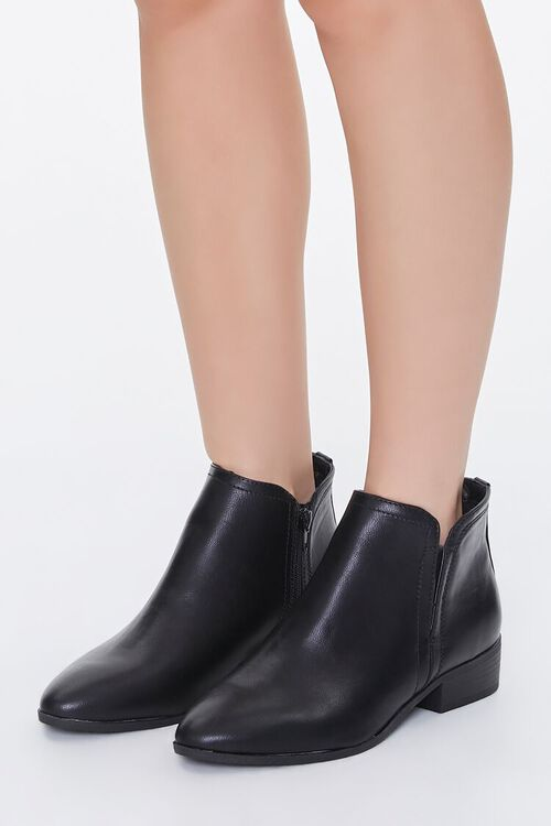 Faux Leather Notched Booties, image 1