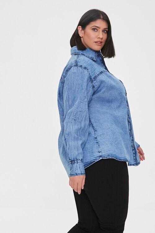 Plus Size Denim Buttoned Shirt, image 2