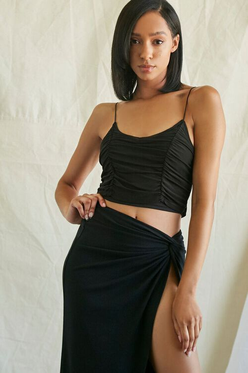 Ruched Mesh Cropped Cami, image 1