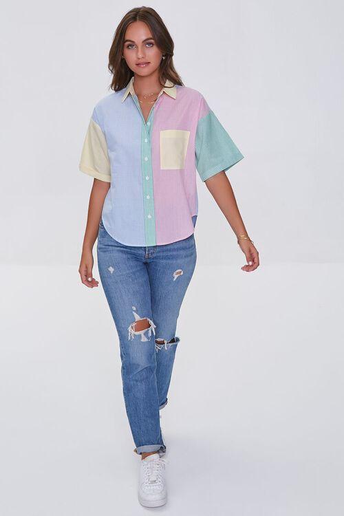 BLUE/MULTI Colorblock Pinstriped Shirt, image 4