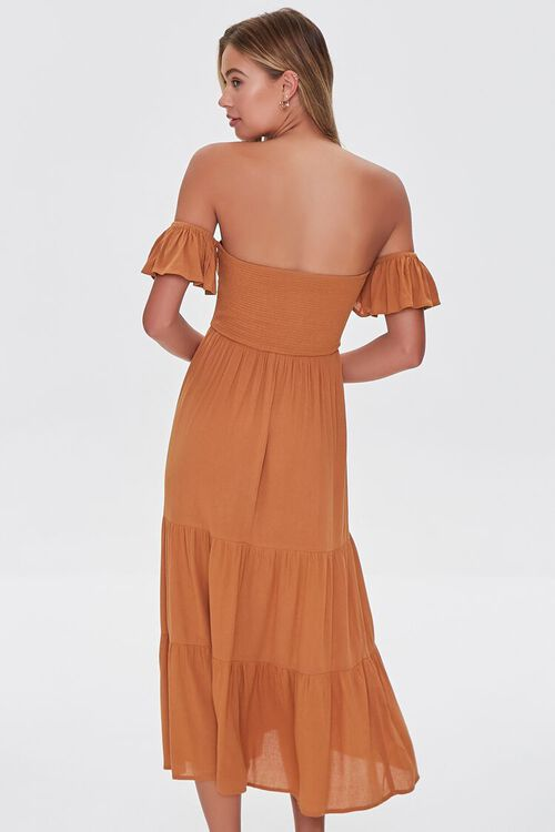 AMBER Lace-Up Off-the-Shoulder Midi Dress, image 3