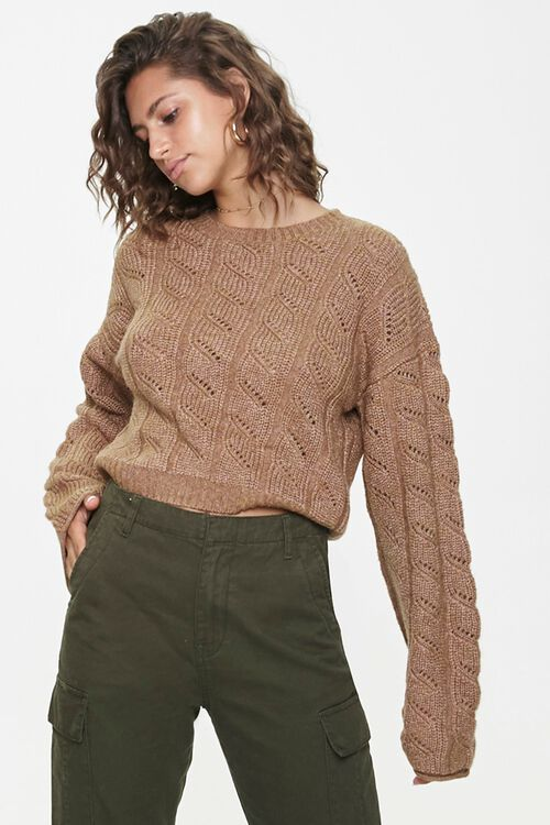 Cable Knit Drop-Sleeve Sweater, image 1
