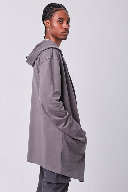 GREY Longline Hooded Cardigan Sweater, image 2