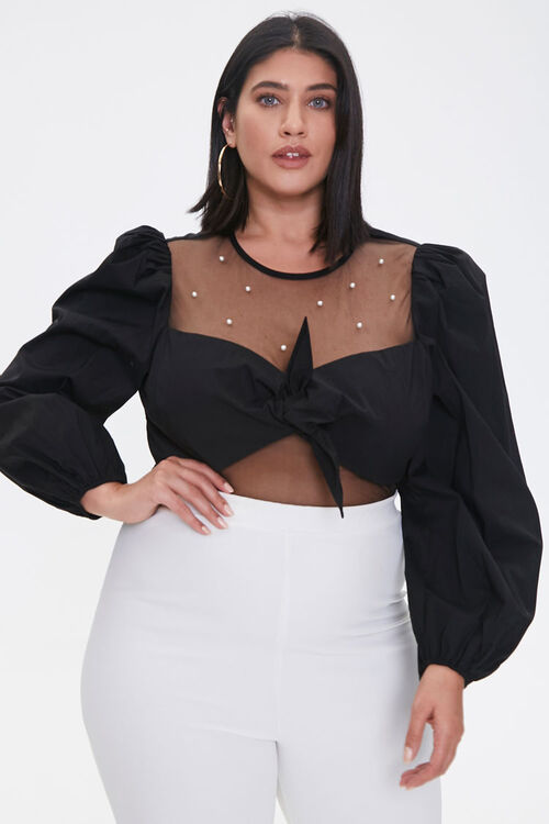 Plus Size Faux Pearl Knotted Crop Top, image 1