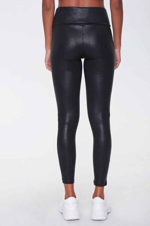 BLACK Active Faux Leather Leggings, image 4